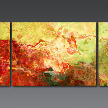 "Large triptych abstract art on stretched canvas, 30x60 giclee canvas print in red and green, from abstract painting ""Walk in the Garden"""