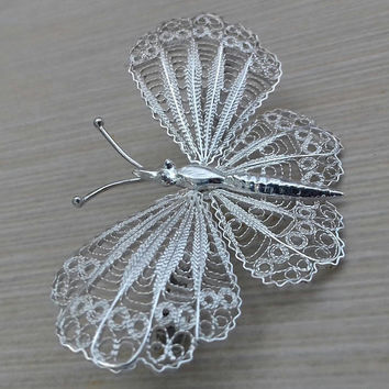 Filigree Vintage Brooch. Large Butterfly. Handmade Silver 925.