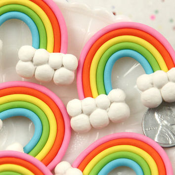 52mm Fimo Rainbow with Chunky Clouds Polymer Clay Flatback Cabochons - 4 pc set