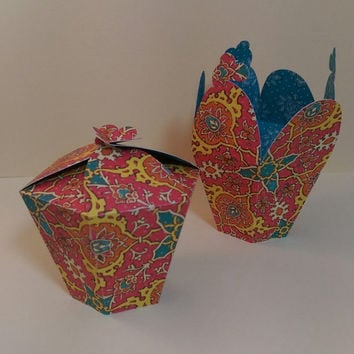 6 Favor Boxes, Bohemian Jasmine Luster Hexagon for Wedding, Birthday Party, Bridal Showers, Candy, Cookies, Mini Cupcake Holder, Jewelry