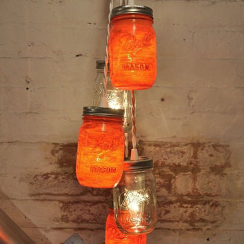 5 Mason Jar Chandelier Pendant Light Fixture Beautiful Color Orange Retro