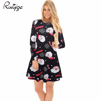 Ruiyige 2017 Winter Fashion Women Christmas Clothing Elegant Long Sleeve O-Neck Tunic Stretch Mini Dress Santa Festival Vestidos