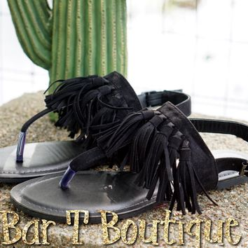 Black Fringe Tassel Sandals