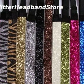 GLITTER HEADBANDS Glittery Sparkly Stretch Headband 4 Softball & Sports SPARKLE