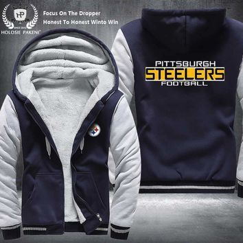 Dropshipping USA Size Pittsburgh Steelers Women Winter Thicken Fleece Hoodie Zipper Sweatshirt Jacket Costume Tracksuit made