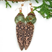 Flowering Tree of Life Earrings, Copper Green Lampwork Handmade Jewelry