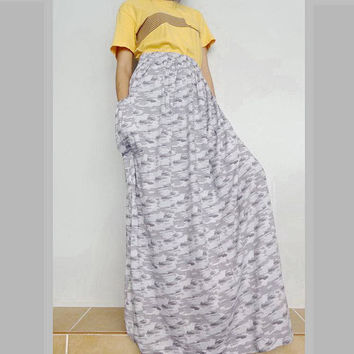 Women Light Gray CAMO Maxi Long Skirt , Casual Gypsy, Bohemian , Cotton Blend (Skirt *M17).