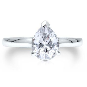 Sterling Silver 925 Cubic Zirconia CZ Pear Shape Solitaire Ring #r373