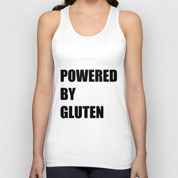 Powered By Gluten Unisex Tank Top by minorthread | Society6