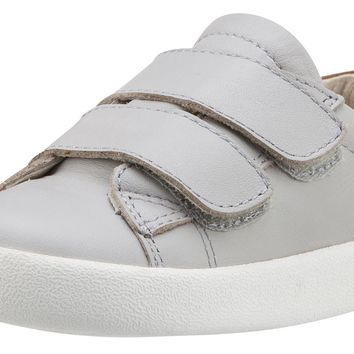 Old Soles Boy's & Girl's 5017 Toddy Shoe Grey/Tan Leather Bicolor Sneaker Shoe with Double Hook and Loop Straps