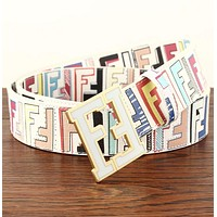 Hot Sale Fendi  Women Men F Mark Belt Print Belt B104518-1 White+Colorful Print