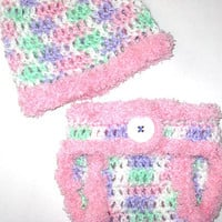 New Born Pastel Rainbow and Soft Pink Poof Diaper Cover and Baby Hat Set-  Baby Shower Gift, Ready to Ship