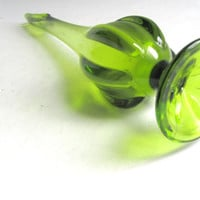 Mid Century Green Chartreuse Viking Glass Vase