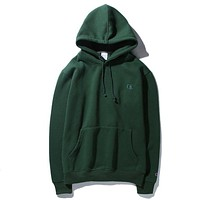 Champion Women/Men Fashion Long Sleeve Embroidering Pullover Sweater Sweatshirt Hoodie Top Green