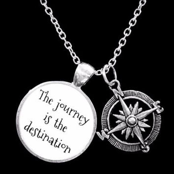 Compass The Journey Is The Destination Nautical Friend Graduation Gift Necklace