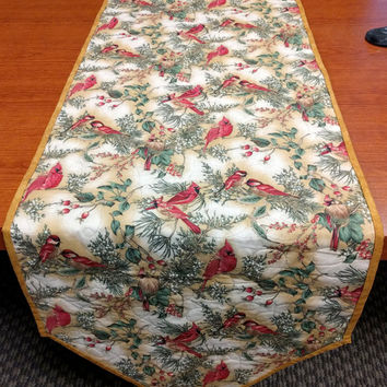 Thanksgiving + Winter Quilted Table Runner, Reversible Table Decor, Cardinals on Gold, Hostess Gift, Quiltsy Handmade