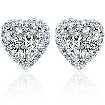 Crystal Simple Design Heart Stylish Earring Accessory [4918330052]