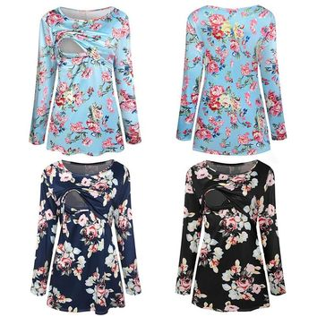 Maternity Clothes Breastfeeding Clothes Maternity Nursing Top Long Sleeves Floral Print Wrinkle T-Shirt Pregnants Clothes S11#F