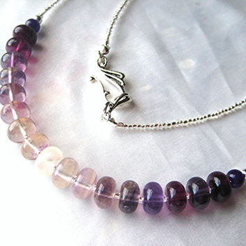 Simple, ombré purple flourite necklace. Long, layering jewelry. Purple, lavender, white & silver gemstone.
