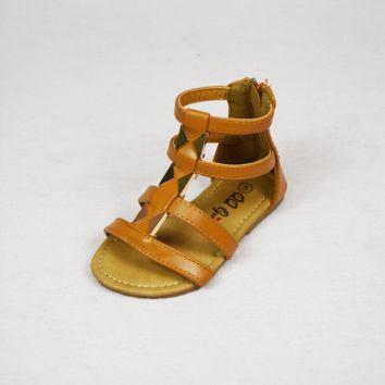 lil' belle toddler studded gladiator sandal - chestnut