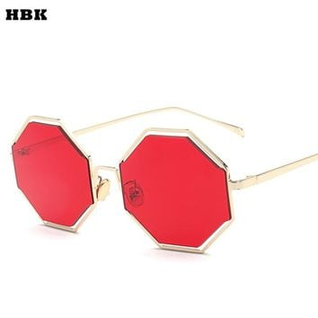 HBK Classic Retro Reflective Sunglasses Women Hexagon Sunglasses Metal Frame Eyewear Sun Glasses Sea color Oculos De Sol gafas