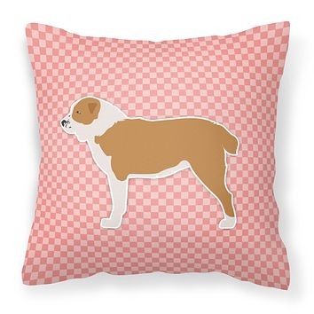 Central Asian Shepherd Dog Checkerboard Pink Fabric Decorative Pillow BB3628PW1414
