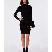 Missguided - Cold Elbow High Neck Bodycon Dress Black