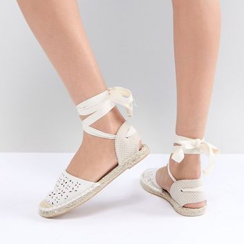 New Look Laser Cut Ankle Tie Espadrille at asos.com