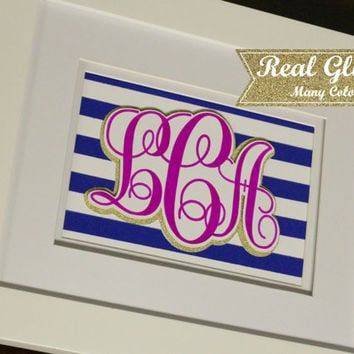 Custom Colorful Monogram Sharpie and Glitter Gallery Art With Frame (Optional) - Gift For Her, Gift For Mom, Monogram Art, Wedding Gift