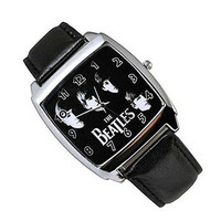 The Beatles on a Mens or Womens Silver Square Watch with Leather Band