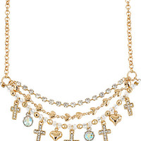 BetseyJohnson.com - ICONIC TOPAZ CROSS NECKLACE CRYSTAL