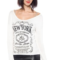 New York City of Dreams Long Sleeve Tee - White from Pink Berry at Lucky 21