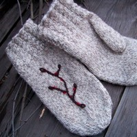 Wool Mittens Hand Knit Wool Mittens Women Accessories Gloves and Mittens - Twigs n Berries