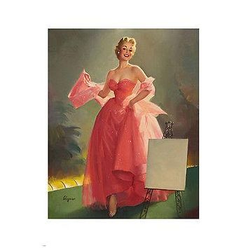 PIN-UP GIRL PAINTING poster 24X36 SEXY gown GLAMOROUS blonde SOFT light