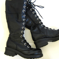 Vintage tall goth boots // lace up combat boots with side zipper // combat boot shoes // women's size11