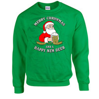 Funny Christmas Gifts Merry Christmas And A Happy New Beer Sweatshirt Hoodie Sweater Christmas Presents Holiday Jumper Christmas Tops DN-315