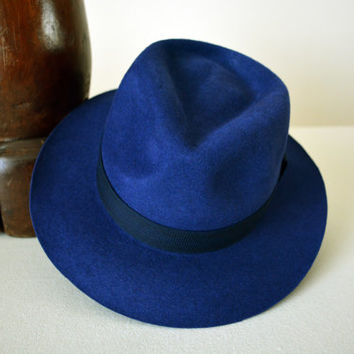 Royal Blue Velour Fur Felt Fedora - Wide Brim Velour Rabbit Fur Felt Blend Handmade Fedora Hat - Men Women