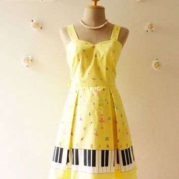 SALE Music Lover Piano Dress Yellow Dress Sweet Day Dress Bridesmaid Choir Birthday Concert Event Pleated Skirt Dress  -Size S-