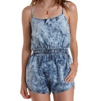 Acid Wash Denim Acid Wash Chambray Romper by Charlotte Russe