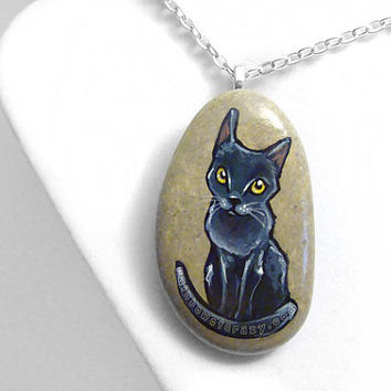Russian Blue Cat Necklace, Pet Portrait Jewelry, Hand Painted Rock, Cat Breed Pendant, Beach Stone, Pet Memorial Gift Cat Owners, Cat Art