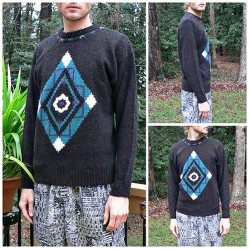 Vintage 1980's Southwestern Sweater by Concrete - Native American Tribal Pattern - Aztec Evil Eye - Men's Size Medium (M)