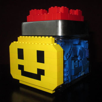 LEGO Themed Glass Candy/Keepsake/Toy Jar ~ Quart Sized Glass Jar with LEGO face and LEGOs on lid. Build with your own LEGOs on the lid!