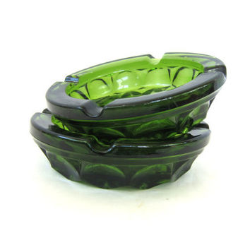 vintage 1970's ashtrays Pair two Retro Pair Heavy Green Glass Mid Century Modern Smoking decor clear cut glass FLoral 1960s Ranch Home