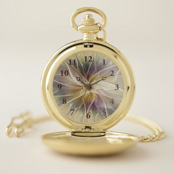 Floral Fantasy Gold Aubergine Abstract Fractal Art Pocket Watch