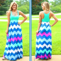 Mint To Party Chevron Maxi