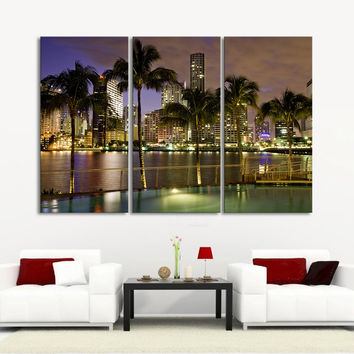 Large Wall Art Canvas Prints Miami Beach and Skyscrapers at Night Landscape - 3 Panel Streched Giclee - MC26