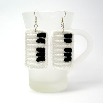 Crocheted Piano Keys Earrings White with Black Octave Fabric Jewelry