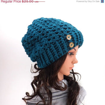 SALE Crochet Lace Slouchy Hat /MALLARD/ with Two Natural Coconut Shell Buttons, Crochet Slouchy Beanie, Gift Idea