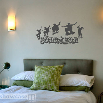 Personalized Skateboarding - Vinyl Wall Art - FREE Shipping - Fun Urban Wall Decal