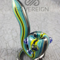 Blue Mystery Standing Sherlock Hand Pipe by Empire Glassworks